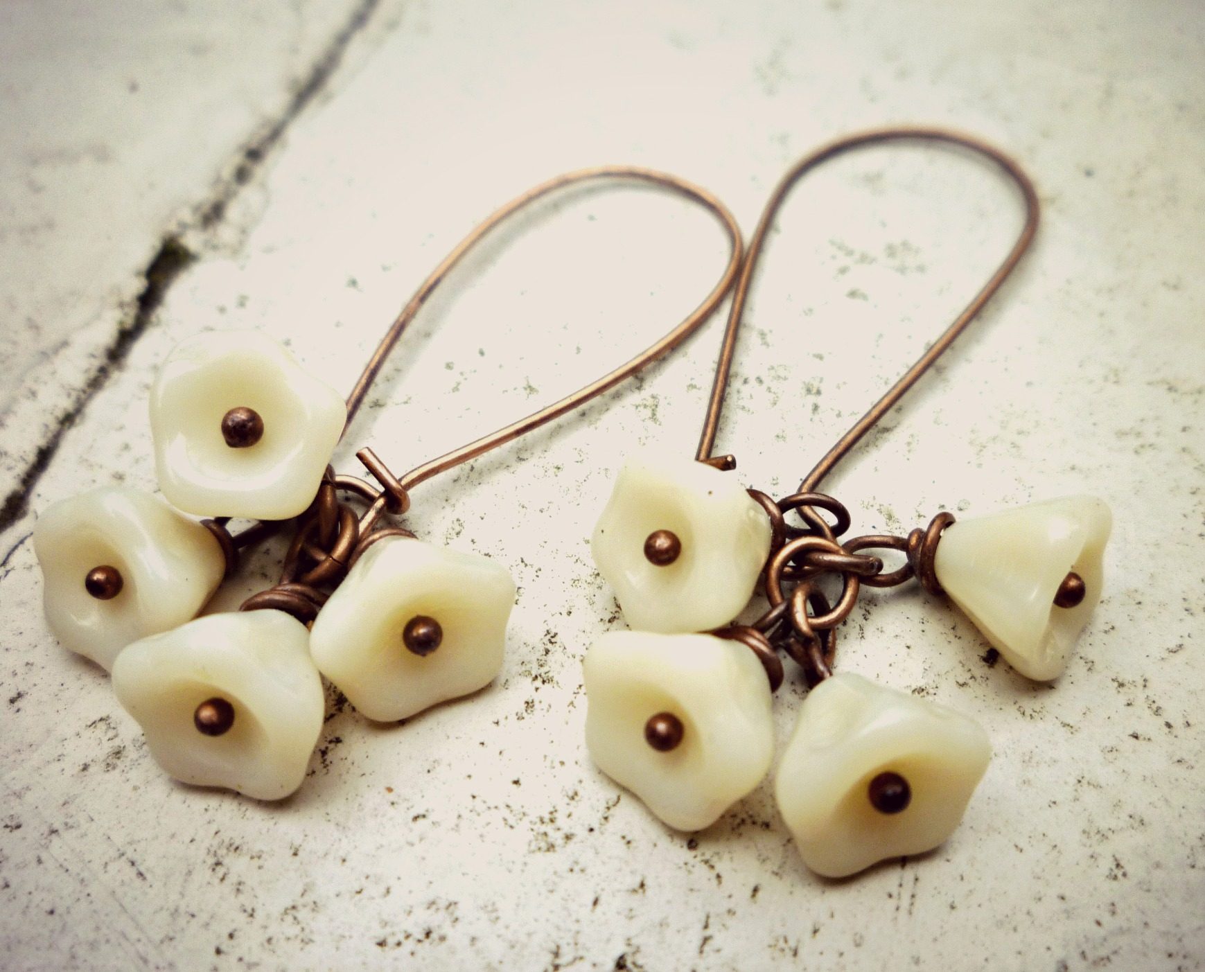 Czech Glass Bell Flowers Vanilla Cream. Antiqued Copper Kidney Wire ...